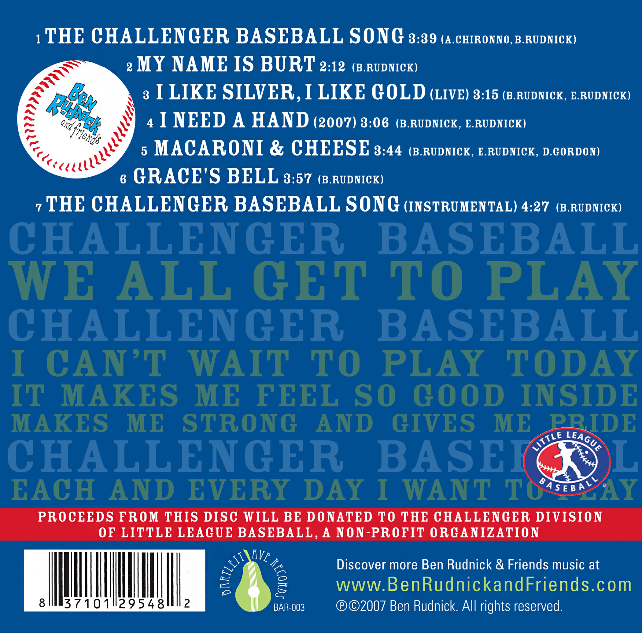 The Challnger Baseball Song CD back cover